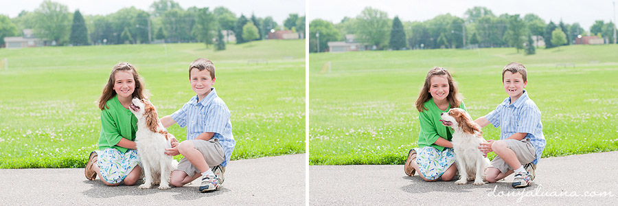 Boy stands near field for portraits in Northfield