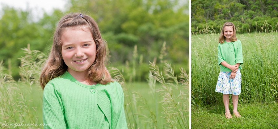 Girl poses for portraits near field in Northfield
