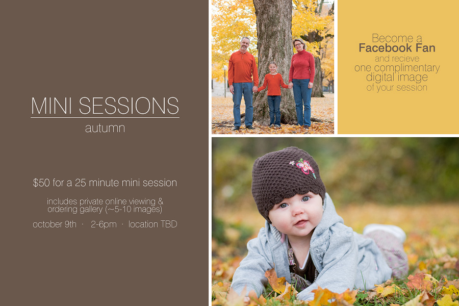 Northfield Family and Baby Photographer offering Mini Photo Sessions