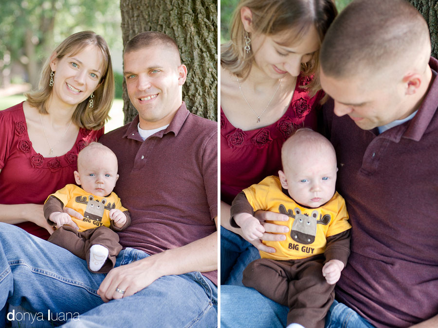 Burnsville Family poses near tree in Minnesota for family portraits
