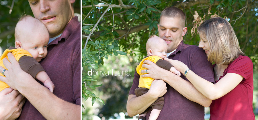 Mom, Dad, and Baby boy pose in backyard for Burnsville Family photos