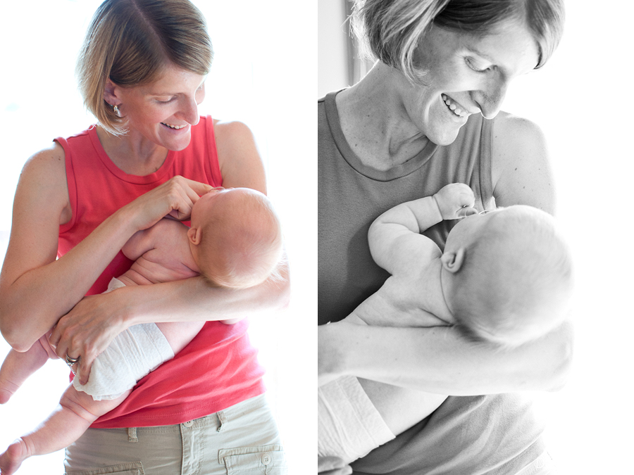 Mother embraces eight week old beautiful baby boy at home in the Twin Cities Metro area