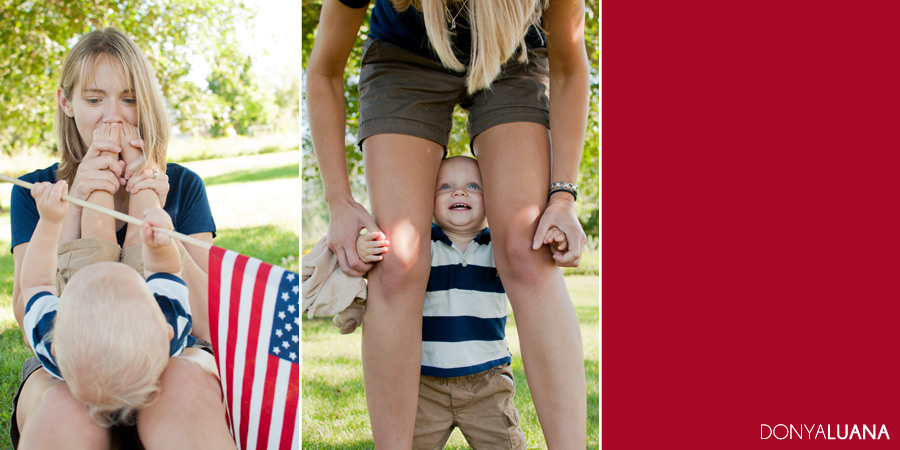 Patriotic Mom and Son Pose for Family Portraits for Military Dad