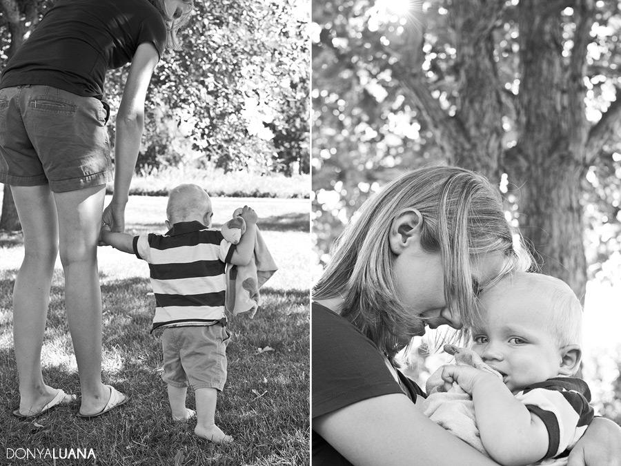 Mom and Toddler walk through Burnsville Minnesota Park for Family Portraits