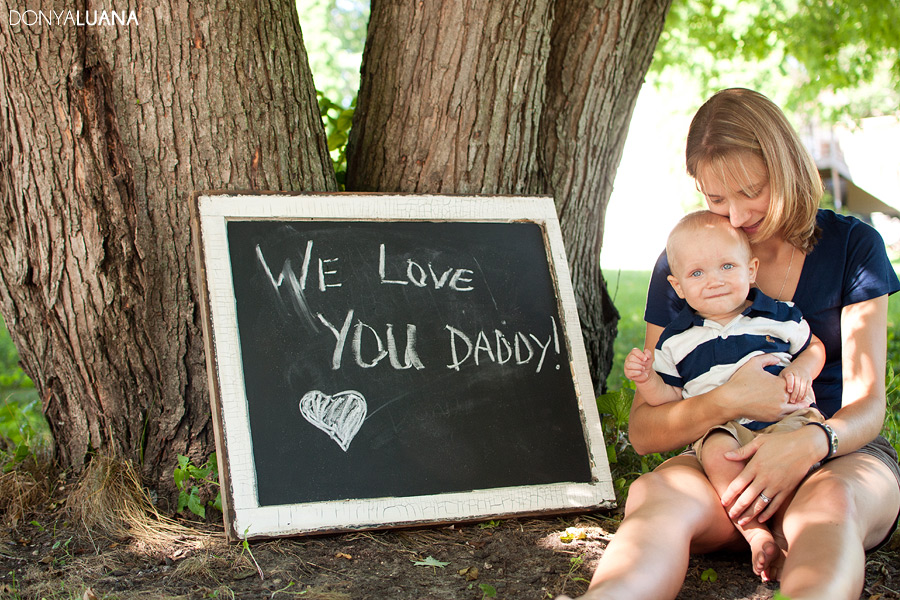 Mom and Son pose from portraits with Letter to Military Dad