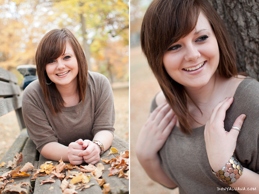 Lakeville senior poses laughing during autumn senior photos