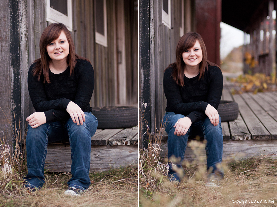 Senior from Northfield poses near old building for portraits