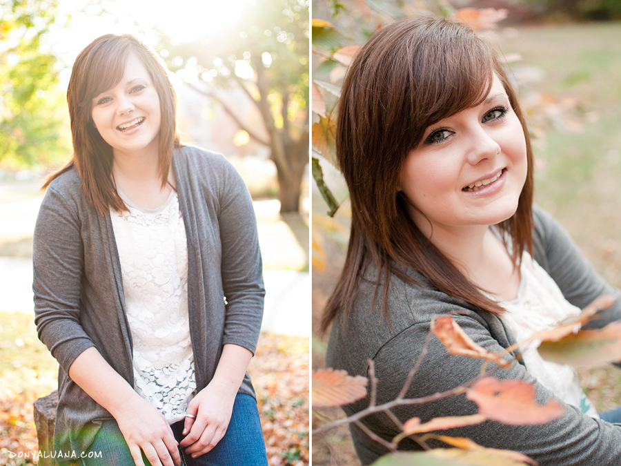 Apple Valley high school senior poses among fall leaves
