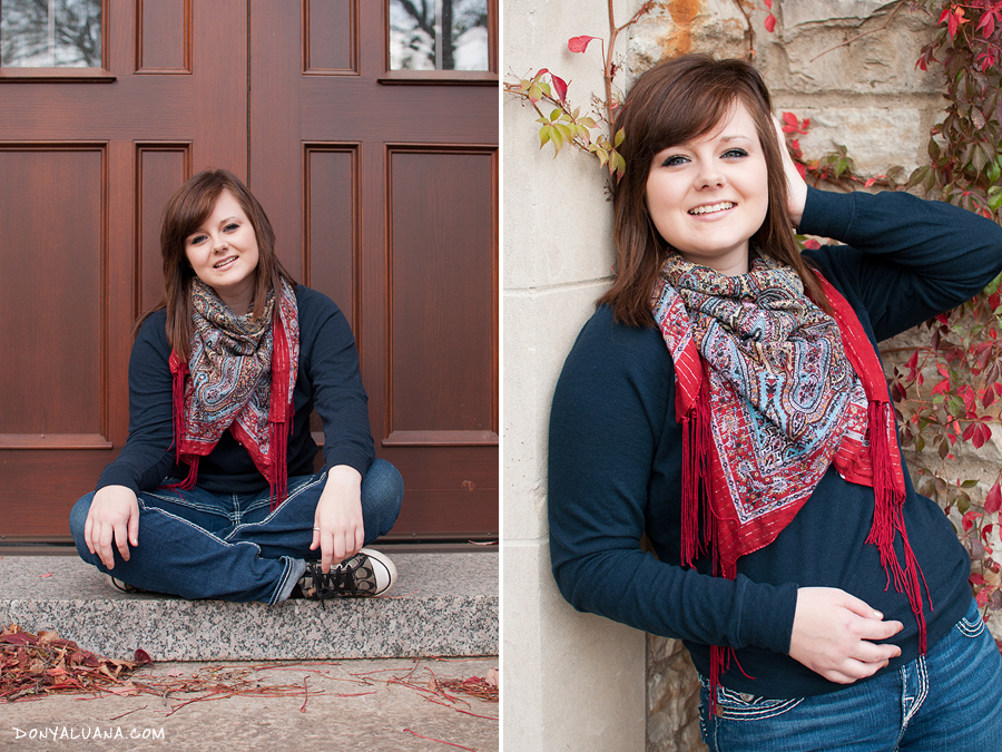 High school senior from Apple Valley poses on stairs of St Olaf for photos