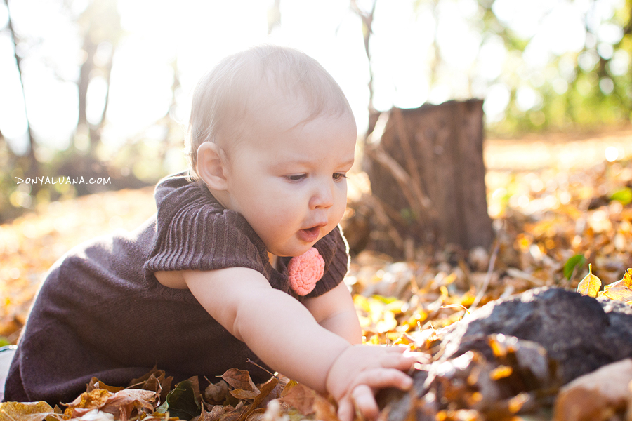 Baby girl plays in backyard among the fall leaves
