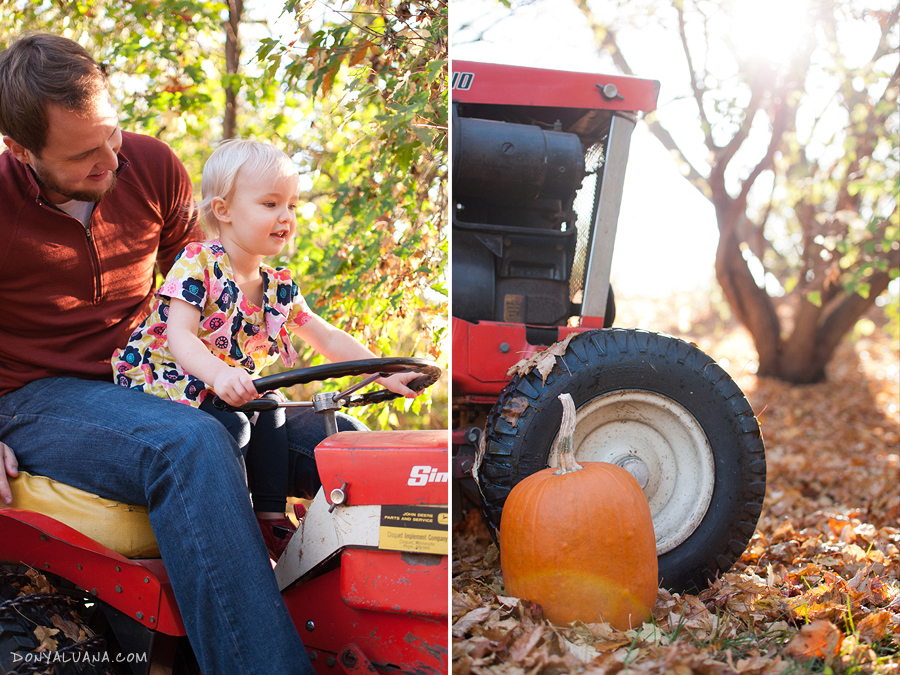 Apple Valley minnesota Family Portraits taken in backyard with tractor