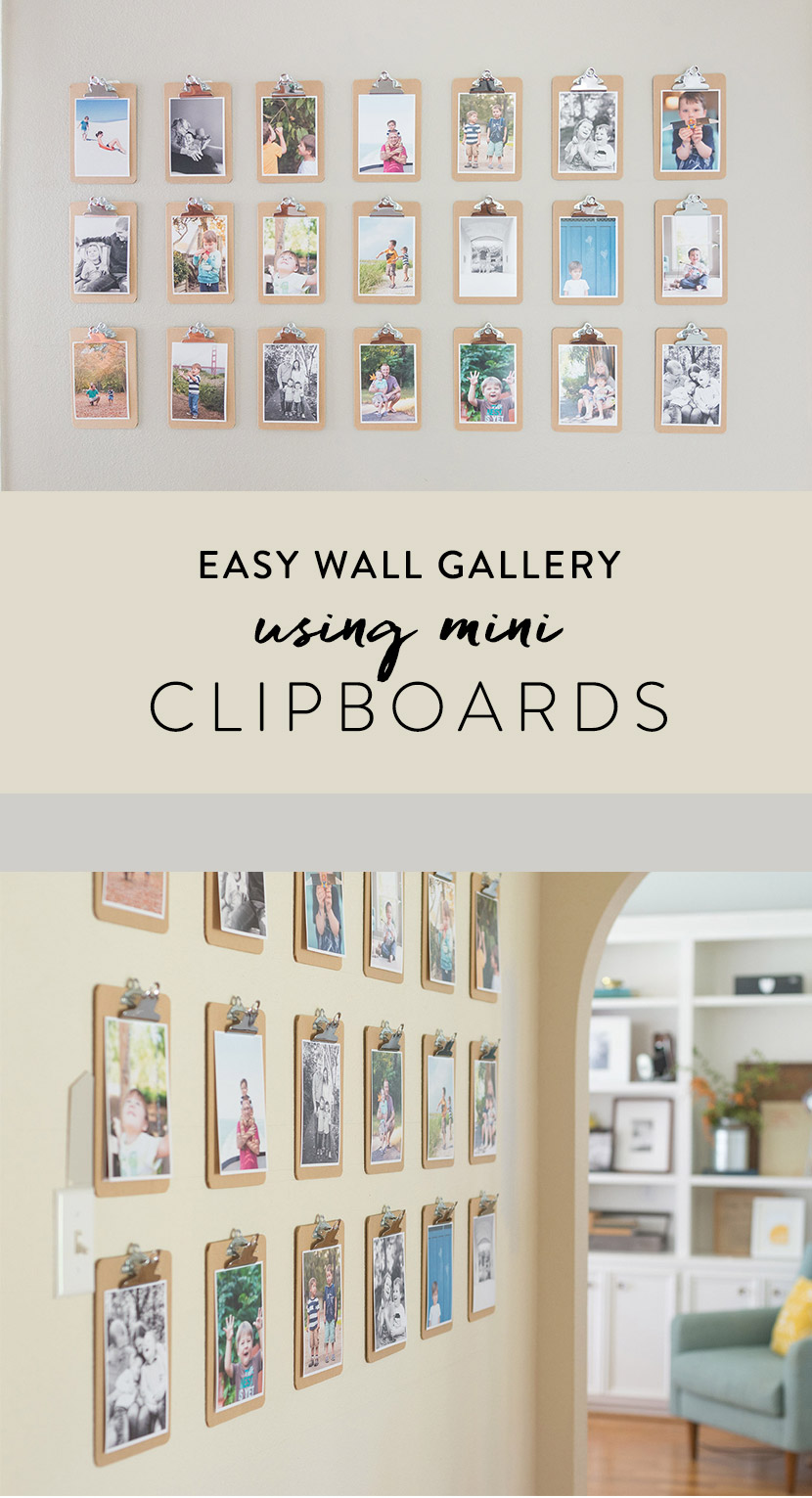 Easy Wall Gallery Idea Using Mini-Clipboards and 5x7 Photo Prints