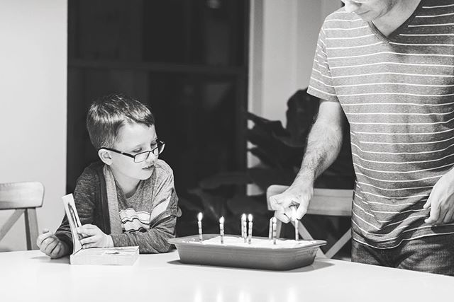 In true Ephram fashion, he was so busy reading through a new book that we had to remind him we hadn't had cake yet and needed him to blow out the candles! Third photo captured the sweet present Alwyn surprised him with and made all on his own without anyone knowing.