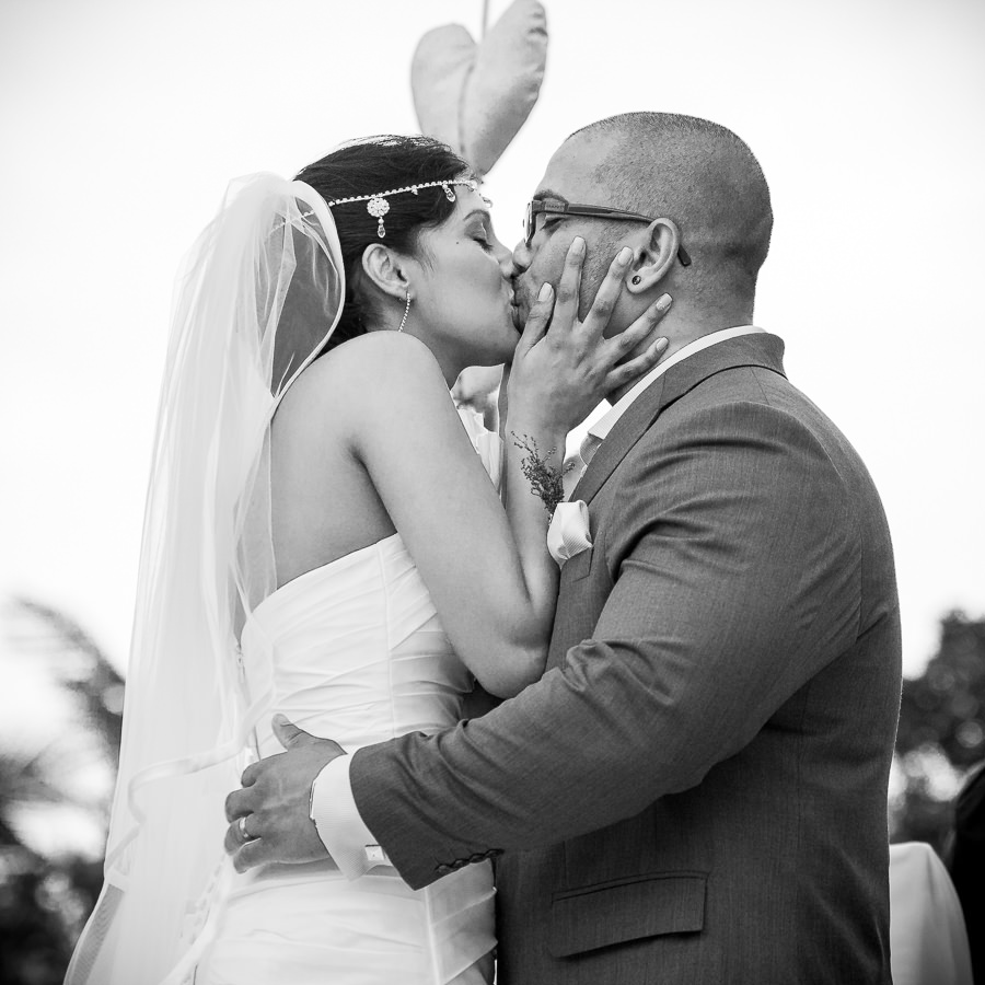 ballito boathouse wedding photography first kiss