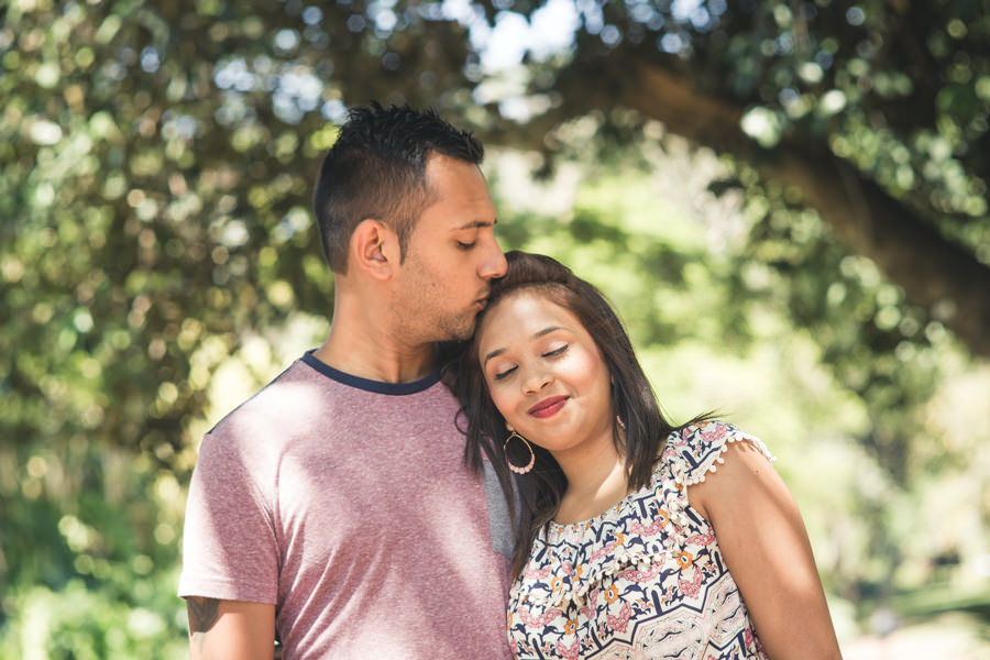 botanic gardens engagement proposal rbadal photography durban kissing forehead
