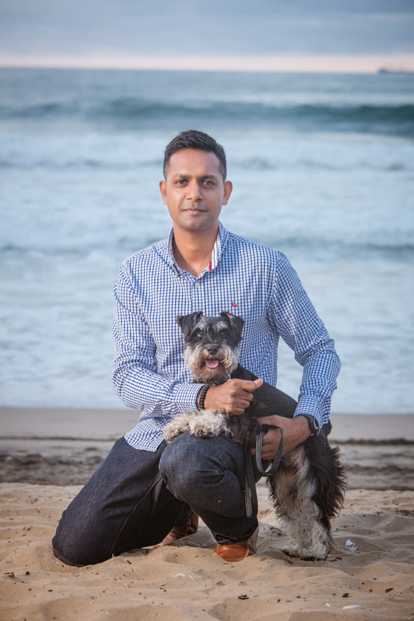 ceo portrait shoot durban rbadal photography at beach with dog north beach