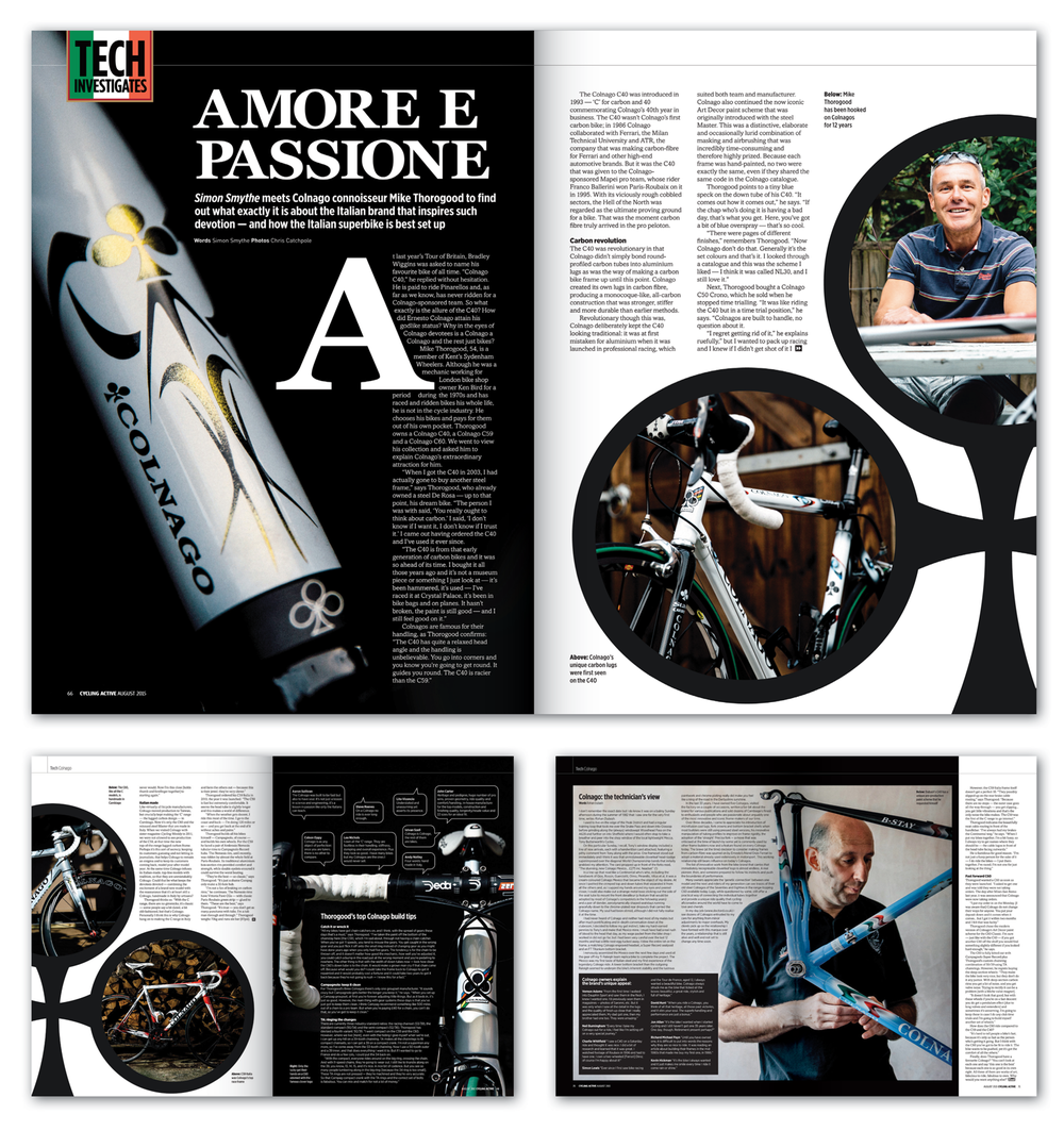 In this feature I had to show a mans passion for his collection and the craftsmanship of each bike, I used the bike brand as the main inspiration and theme throughout.