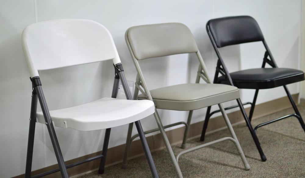 Folding Chairs, White $19.95, Tan $19.95, Black $17.95