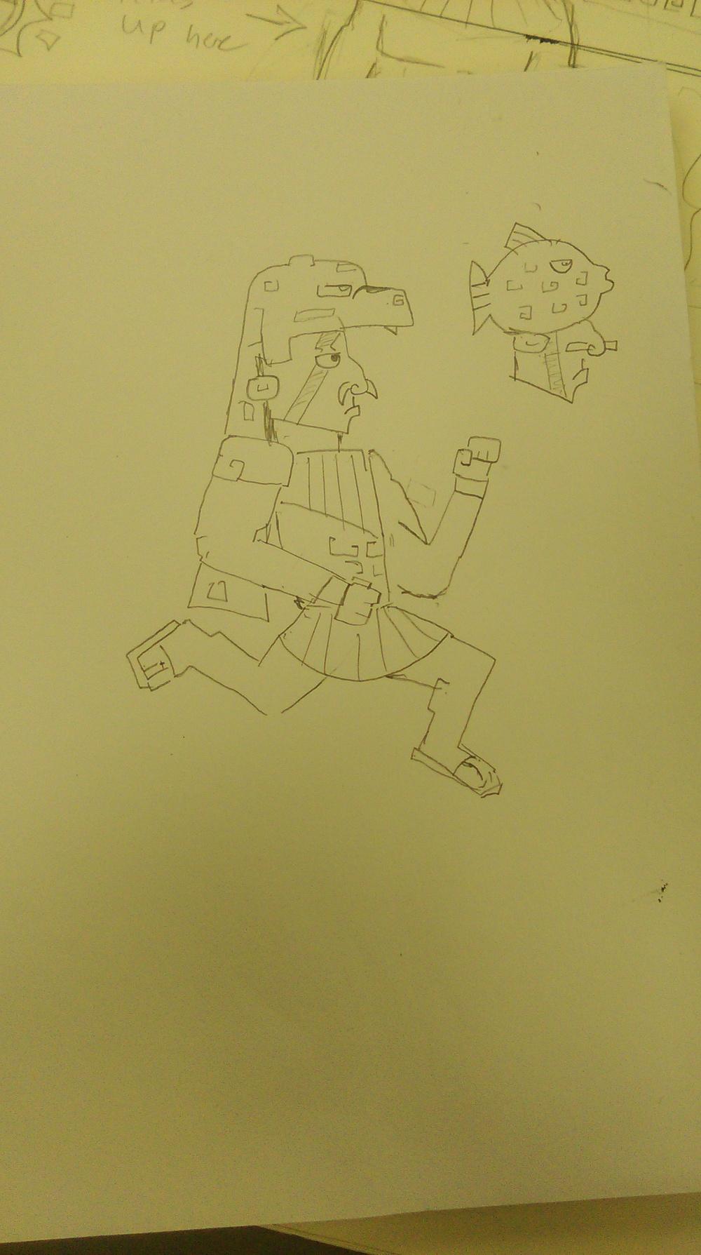 Character design sketch, Jaguar and Fish Warriors