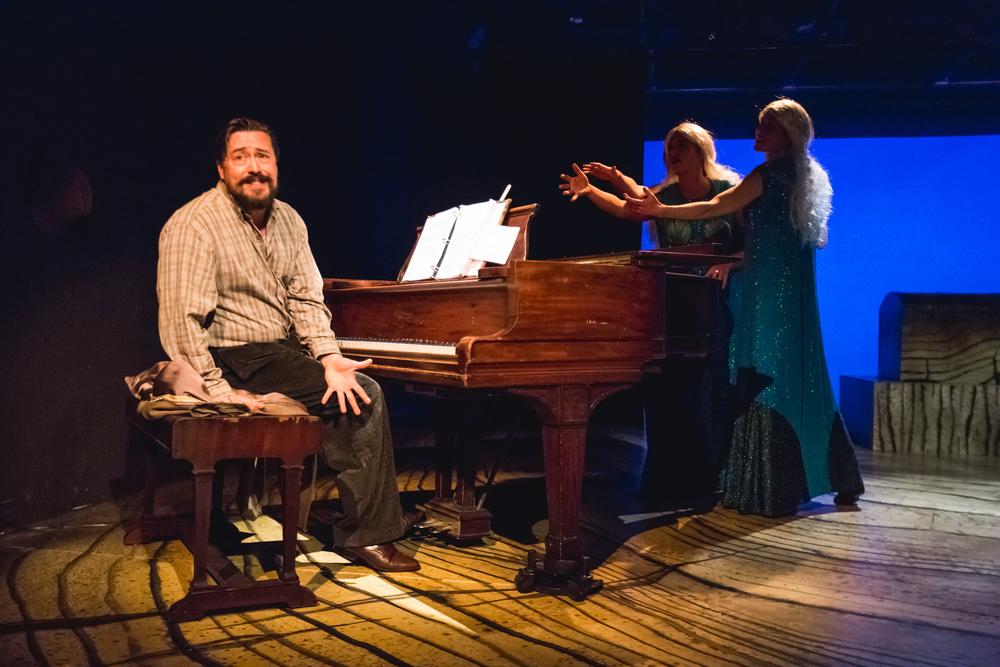 The Skylight Ring - Skylight Music Theatre, 2015 Pictured: Robert Frankenberry (Alberich), Erin Sura (Woglinde), Colleen Brooks (Wellgunde) Photo: Sara Bill