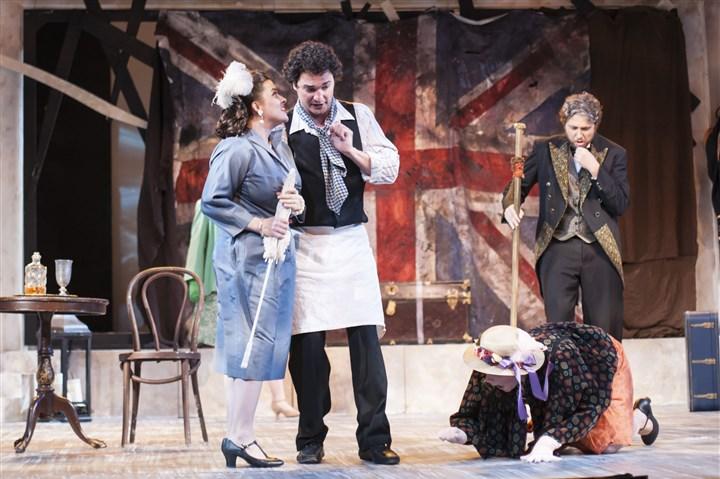 Die schweigsame Frau  (Assistant Director) -Opera Theater of Pittsburgh, 2016 Pictured: Julia Fox (Aminta), Dimitrie Lazich (Barber), Migle Zaliukaite (Carlotta), John Scherch (Vanuzzi) Photo: Patti Brahim