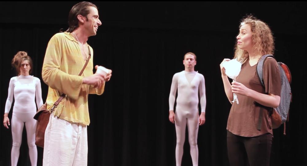 Emily: a fantasy play - Milwaukee Fringe Festival, 2016 Pictured:Rae Buth (Spirit), Brian Miracle (Jake), Eric William Jones (Spirit), Jaclyn June Johnson (Emily) Photo: Zachary Krueger