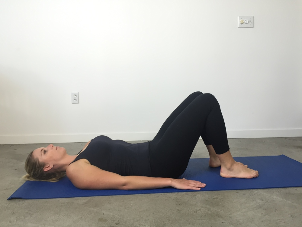 Bent knee fall out: Begin lying on your back with knees bent and feet flat.
