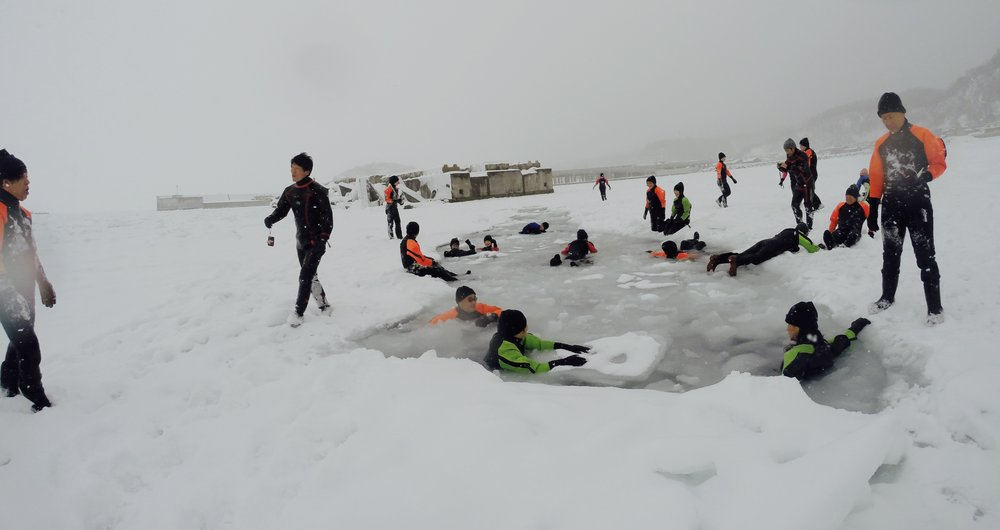 swimming in drift ice_utoro