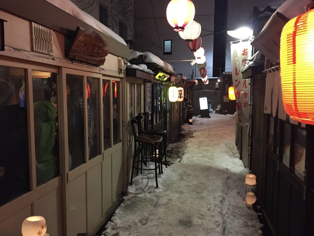 The entrance to Sushi Kodai down a lantern lit alley in Otaru.