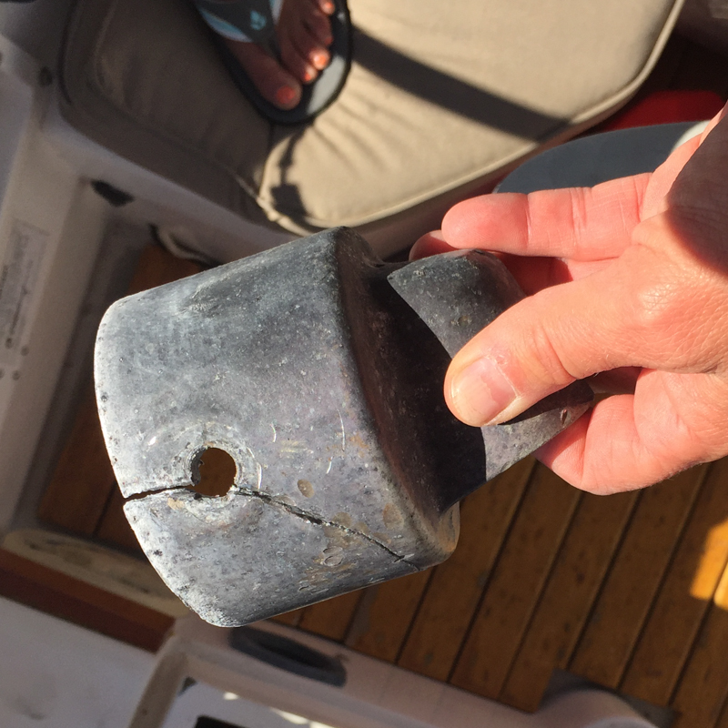 we found a crack in the rudder post cap/emergency tiller insertion point