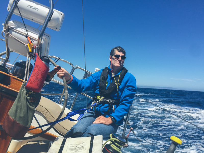 Whitall at the helm of Haunani during a PSSA race