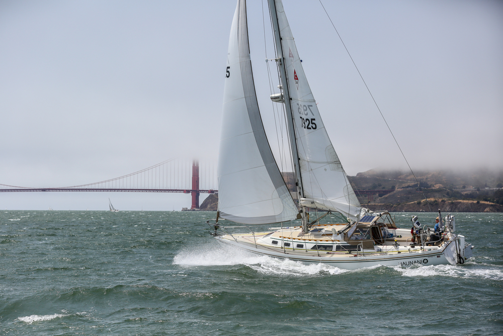 My Beloved Haunani and I leaving San Francisco Bay at the start of the 2016 Singlehanded Transpac.