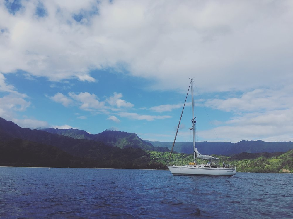 Haunani at rest in Hanalei Bay after our big journey