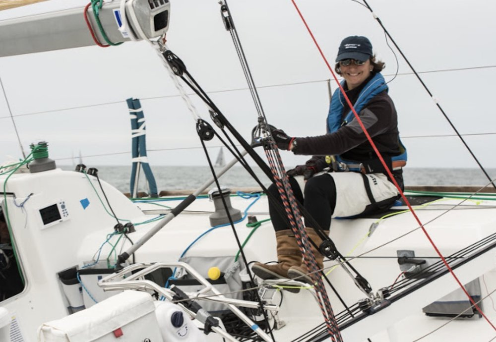 """Nathalie practicing on her Beneteau Figaro, """"Envolee"""" in San Francisco (permission to use image by  H2o shots )"""