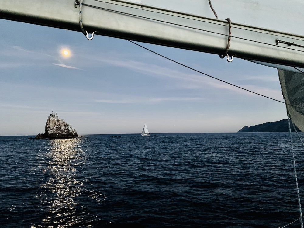 Rounding Ship Rock at Dusk