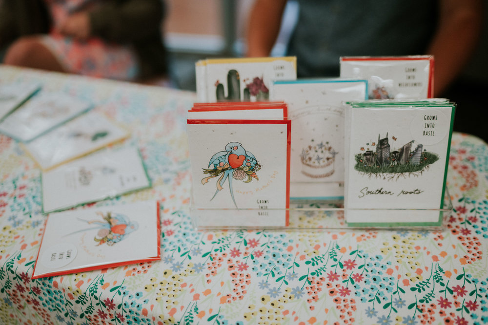 BLOOM BRIGHTLY PAPER CO. - We make seed-filled greeting cards that bring life back into paper. You can plant them to grow wildflowers or basil! Our greeting cards give buyers the opportunity to give a unique and sustainable gift to someone they care about. Because our cards are plantable, the gift lives on much past the initial moment of receiving it.