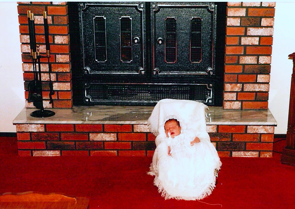 Another fireplace pose, my baptism. I'm eager to start this tradition with Baby Alfred soon!