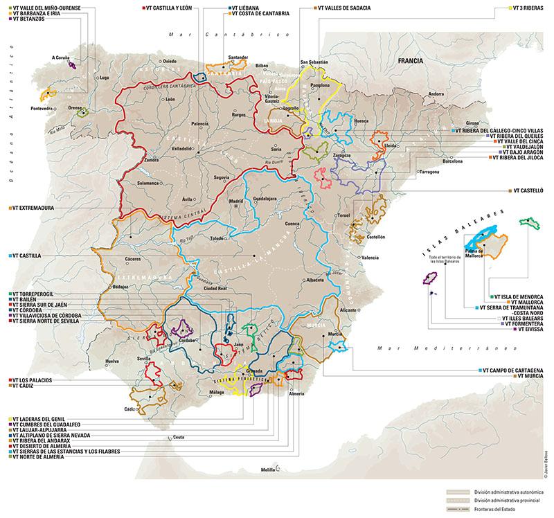 Vinos en España: Vinos de la Tierra o con Indicación Geográfica Protegida. Fuente: Vinos de España - ICEX - ©Javier Belloso