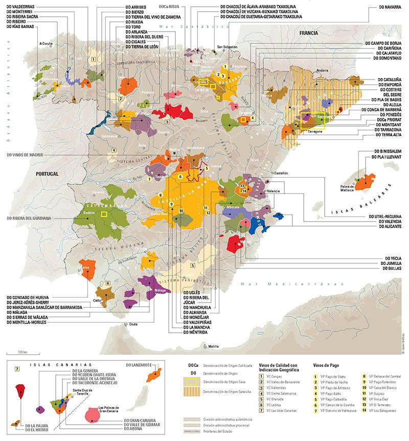 Vinos de Calidad con Indicación Geográfica y Vinos de Pago en España. Fuente:Vinos de España -ICEX -©Javier Belloso