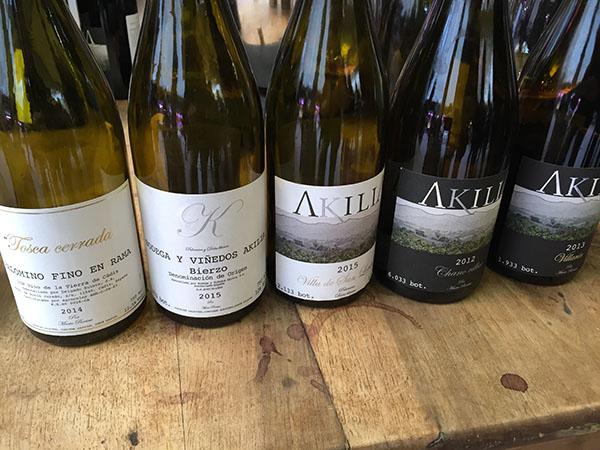 Vinos de Akilia: Tosca Cerrada, 2014, K, Villa de San Lorenzo 2015, Chano Villar 2012 y Villarín 2013