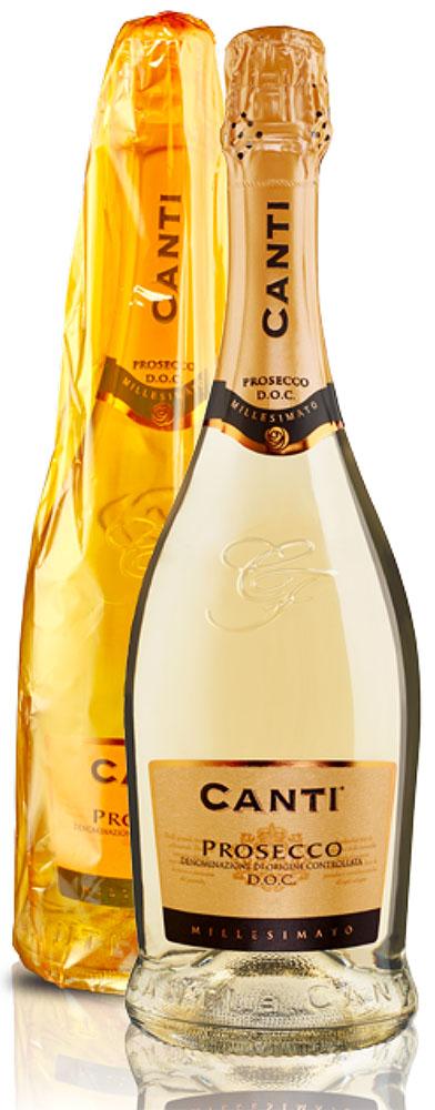 Canti Prosecco 2014 Brut Millesimato es un vino blanco espumoso italiano joven del año 2014, un monovarietal elaborado con la uva autóctona Glera, un vino con Denominazione di Origine Controllata, D.O.C., el equivalente a la Denominación de Origen - D.O. española.