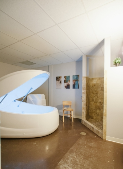 Typical Float pod in private room with shower