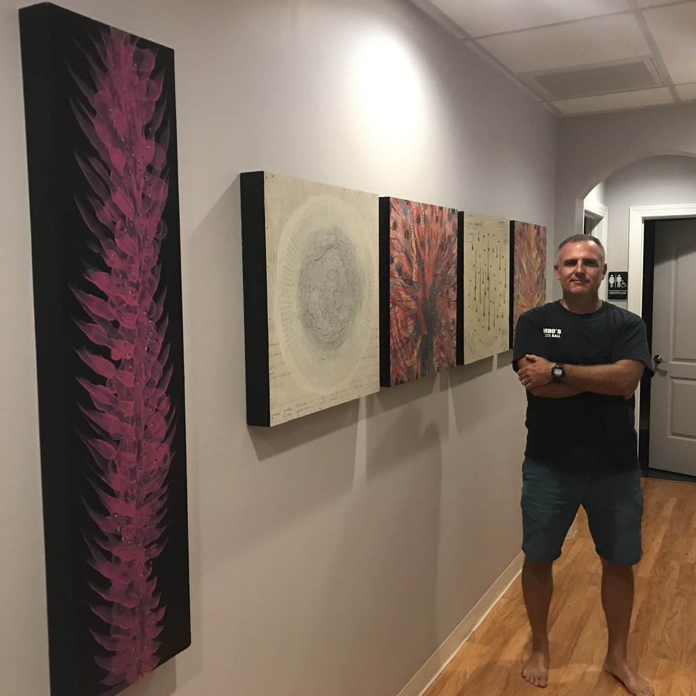 Artist Todd Hale displays his work at The Float Zone
