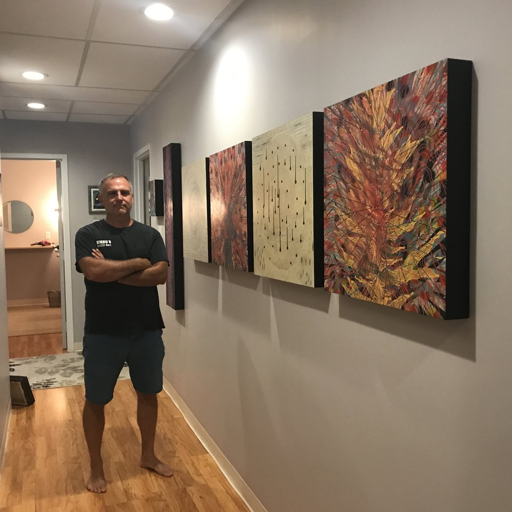 Artist Todd Hale, seen once again in bare feet having just returned from his Outer Banks, NC studio