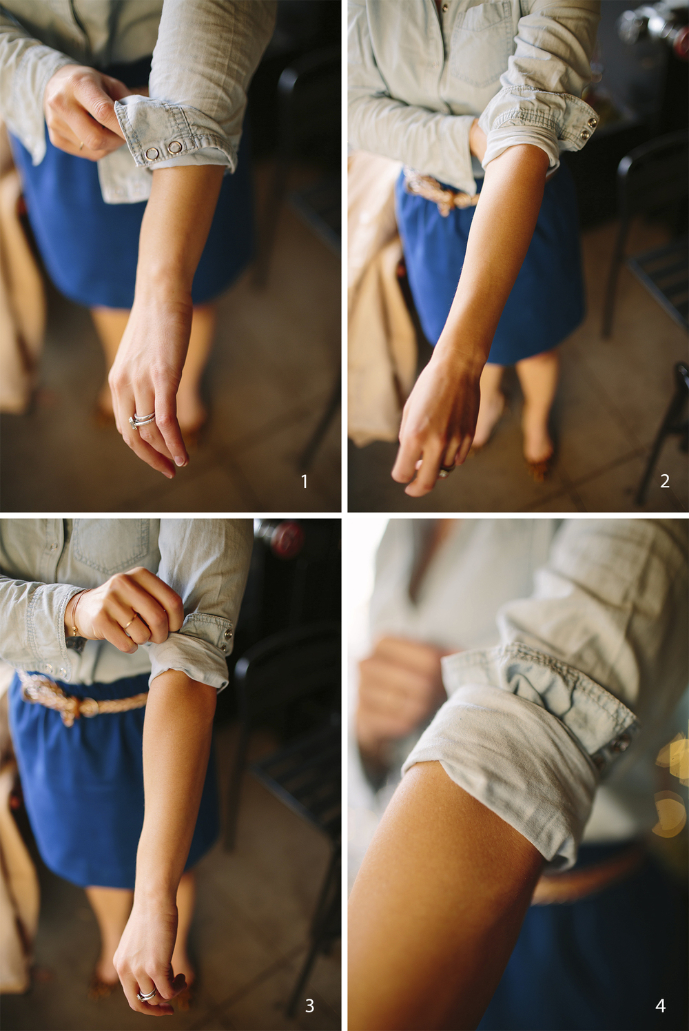 Here is a little trick to get your rolled sleeves to stay rolled, plus it looks super cute!  1. Fold the entire bottom of the sleeve up to just above your elbow. 2. Take the bottom of that fold and fold it up again, leaving some of the end of the sleeve exposed. 3. Adjust so that it lays flat and is comfortable. 4. Voila! You have a cute ruffled look and your sleeve will stay up all day!