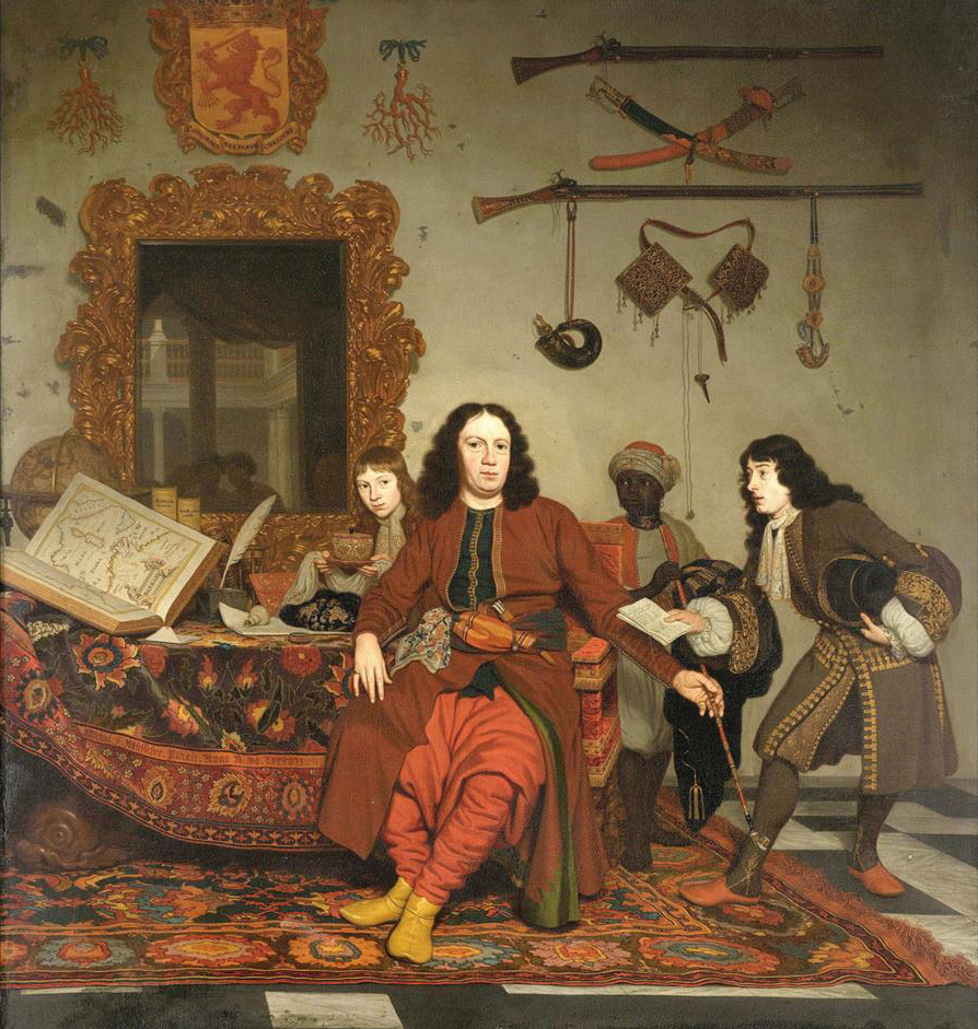 Thomas Hees com os seus primos Jan e Andries Hees e um criado,de Michiel van Musscher (1687)