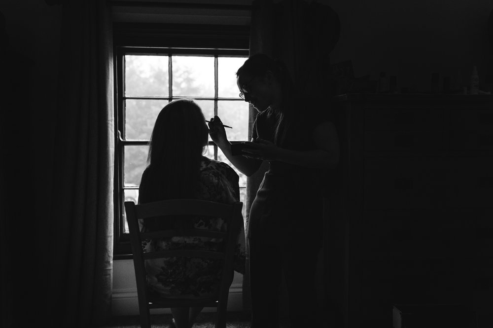 Brides make-up being done - Powys Wedding Photography