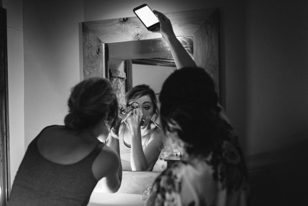 Bridesmaids doing own makeup - Powys Wedding Photography