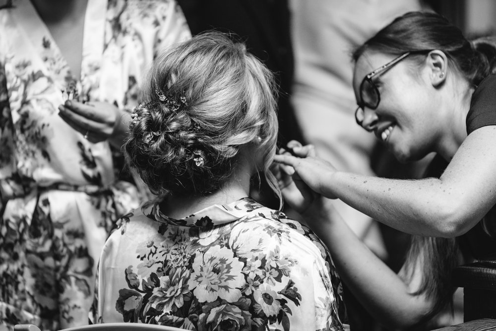 Bride hair and makeup - Powys Wedding Photography