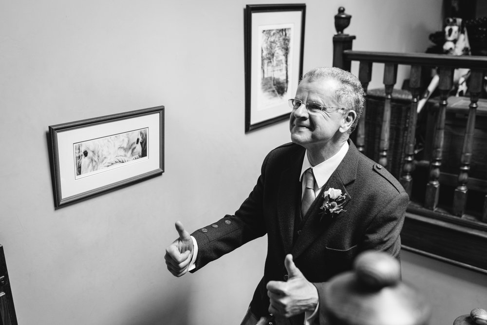 Father of bride giving thumbs up - Powys Wedding Photography